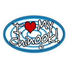 Hypno I Love My Chinook Oval Sticker Blue