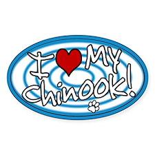 Hypno I Love My Chinook Oval Sticker Blue