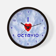 I Love Octavio (Blue) Valentine Wall Clock