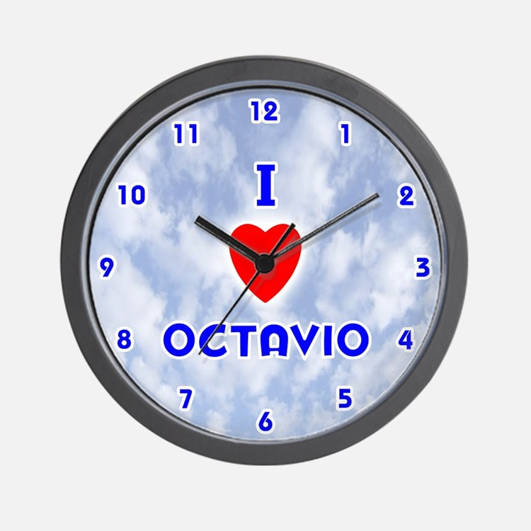 I Love Octavio (Blue) Valentine Wall Clock