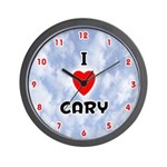 I Love Cary (Red/Blk) Valentine Wall Clock
