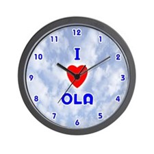 I Love Ola (Blue) Valentine Wall Clock