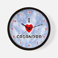 I Love Casandra (Red/Blk) Valentine Wall Clock