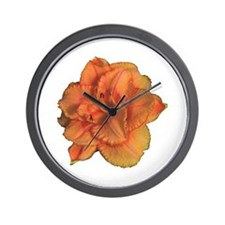 Coral Double Daylily Wall Clock