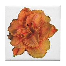 Coral Double Daylily Tile Coaster