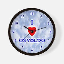 I Love Osvaldo (Blue) Valentine Wall Clock