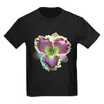 Lavender w/ Gold Daylily Kids Dark T-Shirt