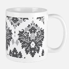 Damask pattern black white Mugs