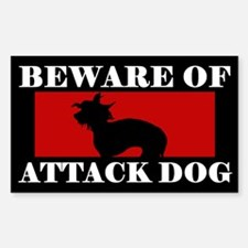 Beware of Attack Dog Chinese Crested Decal