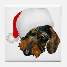 Santa Dachshund Tile Coaster