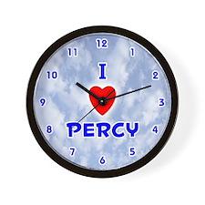I Love Percy (Blue) Valentine Wall Clock