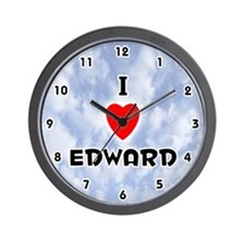 I Love Edward (Black) Valentine Wall Clock