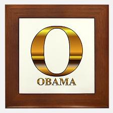 Gold O for Barack Obama Framed Tile