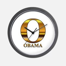 Gold O for Barack Obama Wall Clock