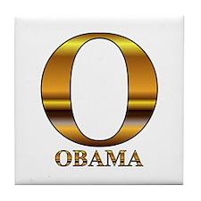 Gold O for Barack Obama Tile Coaster
