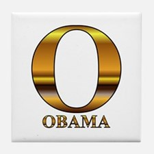 Gold O for Barack Obama Tile Coaster