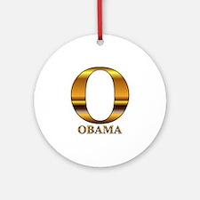 Gold O for Barack Obama Ornament (Round)