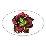 Dark Purple Daylily Oval Sticker