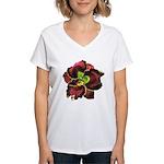 Dark Purple Daylily Women's V-Neck T-Shirt