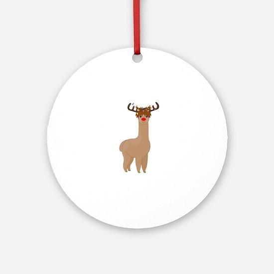 Christmas Llama Round Ornament