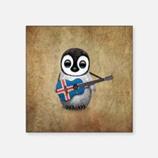 Baby Penguin Playing Icelandic Flag Guitar Sticker