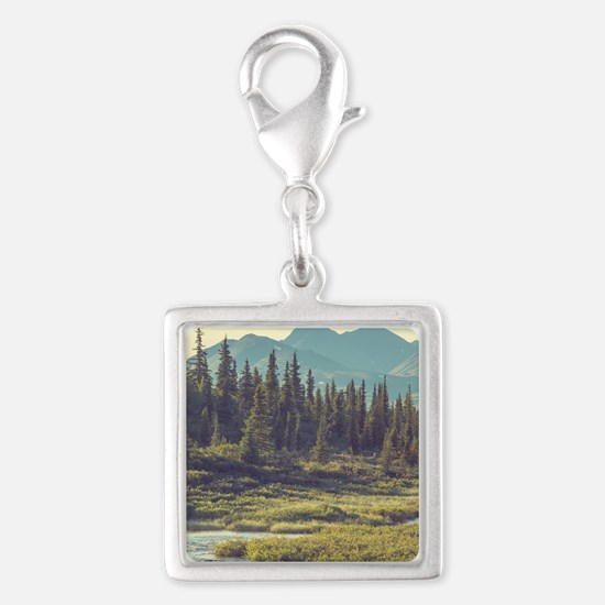 Mountain Meadow Silver Square Charm