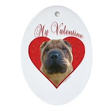 Shar Pei Valentine Oval Ornament