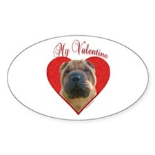 Shar Pei Valentine Oval Decal
