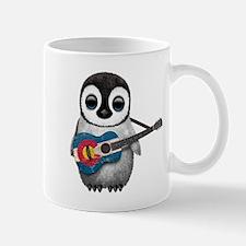 Baby Penguin Playing Colorado Flag Guitar Mugs