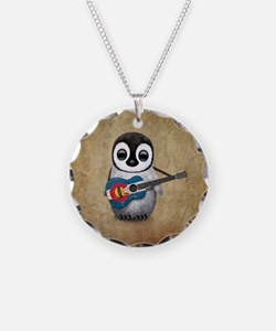 Baby Penguin Playing Colorado Flag Guitar Necklace