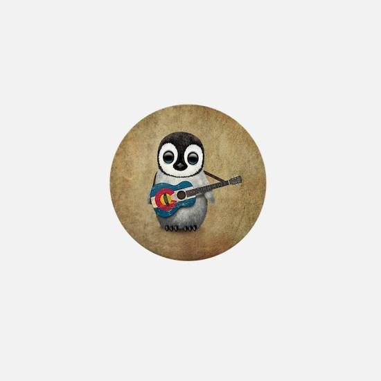 Baby Penguin Playing Colorado Flag Guitar Mini But