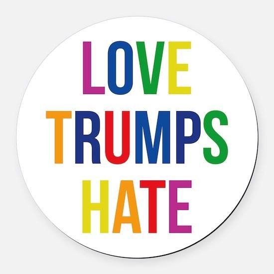 GLBT Love Trumps Hate Round Car Magnet