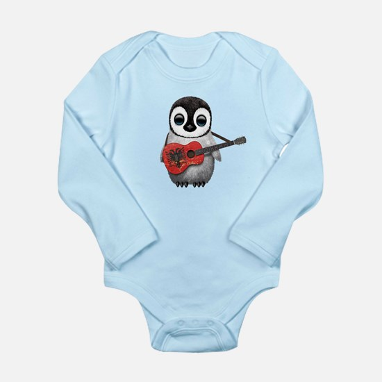 Baby Penguin Playing Albanian Flag Guitar Body Sui