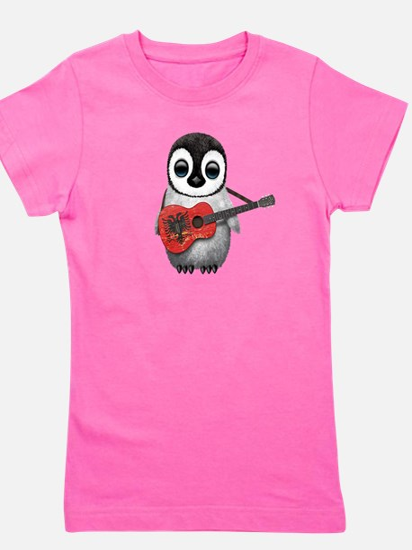 Baby Penguin Playing Albanian Flag Guitar T-Shirt