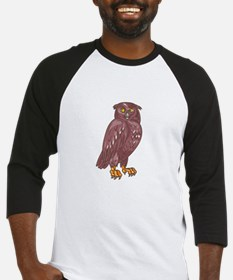 Owl Observing Looking Drawing Baseball Jersey