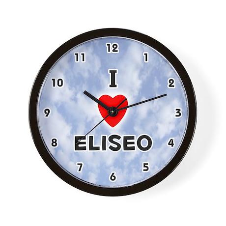 I Love Eliseo (Black) Valentine Wall Clock