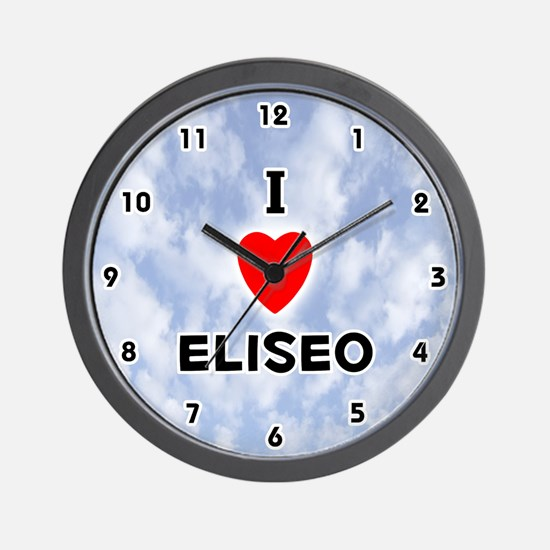 I Love Eliseo (Black) Valentine Wall Clock