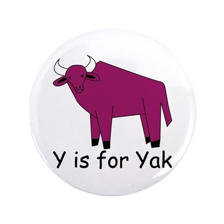 """Y is for Yak 3.5"""" Button"""