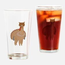 Thanksgiving Llama Drinking Glass