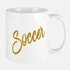 Soccer Gold Faux Foil Metallic Glitter Quote Mugs