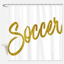 Soccer Gold Faux Foil Metallic Glit Shower Curtain