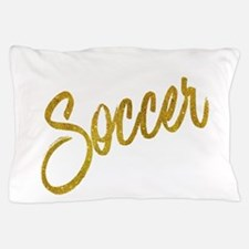 Soccer Gold Faux Foil Metallic Glitter Pillow Case
