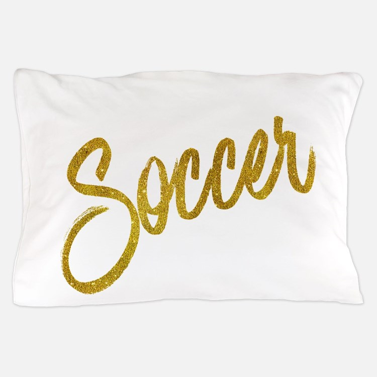 Soccer Gold Faux Foil Metallic Glitter Pillow Case