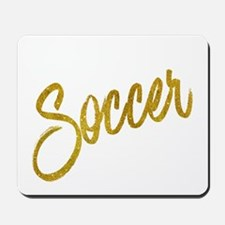 Soccer Gold Faux Foil Metallic Glitter Q Mousepad