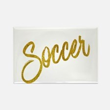 Soccer Gold Faux Foil Metallic Glitter Quo Magnets