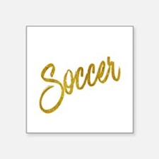 Soccer Gold Faux Foil Metallic Glitter Quo Sticker