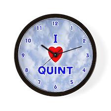 I Love Quint (Blue) Valentine Wall Clock