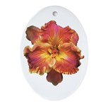 Coral Red Daylily Oval Ornament