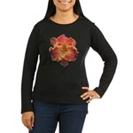 Coral Red Daylily Women's Long Sleeve Dark T-Shirt