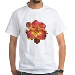 Coral Red Daylily White T-Shirt